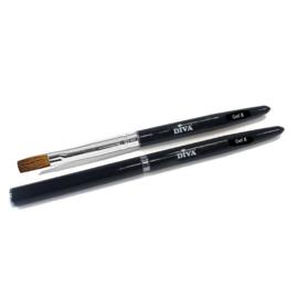 Gel penseel #8 Zwart met dop 13mm