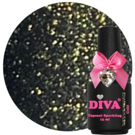 Diva Topcoat Sparkling Gold zonder plaklaag 15 ml