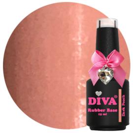 Diva Gellak Rubber Basecoat Dark Peach 15 ml