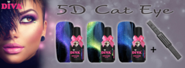 Diva Gel Lak 5D Cat Eye  collectie 3 flesjes met gratis Staaf Magneet