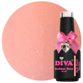 Diva Gellak Rubber Basecoat Dark Peach Sparkle 15 ml
