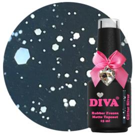 Diva Rubber Frozen Matte Topcoat Glitter Silver - No Wipe 15 ml