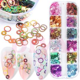 Nail Art Box Mirror Holographic Ring 12 colors
