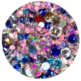 Diva Crystal Mix  Pink Blue different shapes