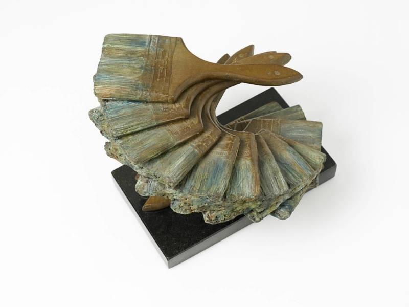Bronzen sculptuur met titel: Les Pinceaux