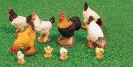 Set met 1 Haan, 6 kippen en 6 kuikens