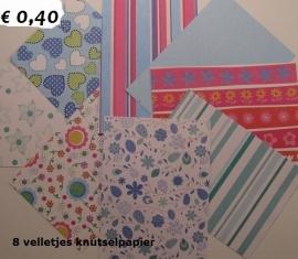 8 velletjes knutselpapier