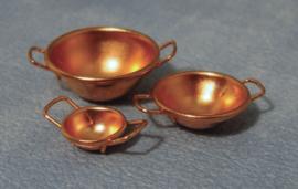 3 koperen wokpannen (set)