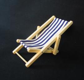 Strandstoel - Blauw / onbehandeld hout