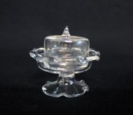 Glazen schaal op voet, met deksel (glas)
