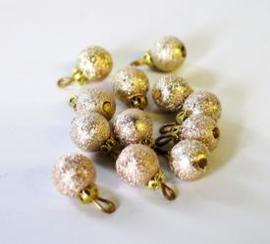 Kerstballen - Zalmkleurig/ Goud