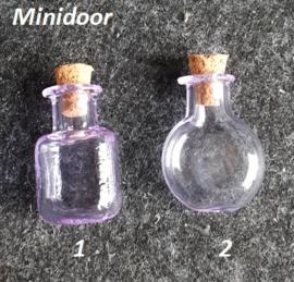 Gekleurd glazen flesje (lila)
