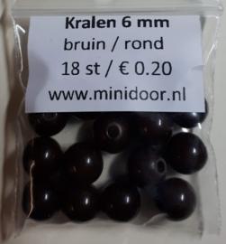 Kralen ø 6 mm - bruin