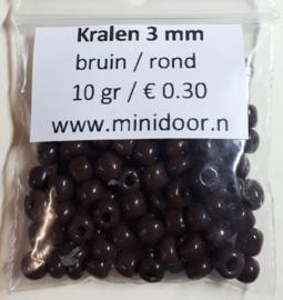 Kralen ø 3 mm - bruin