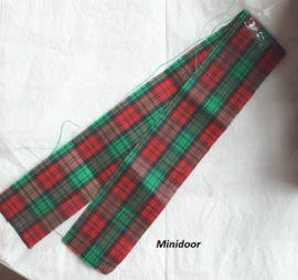 Geblokt band - rood /groen