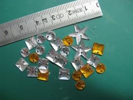 Glittersteentje - zilver/goud gemengd