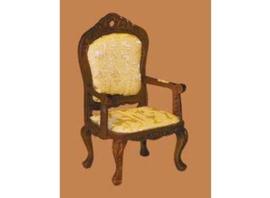 Victoriaanse stoel met armleuningen, noten