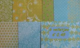 Scrapbookpapier 6 vellejtes - Blauw/groen