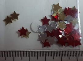 Kleine ster, rood/zilver/goud