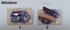 Plankje met worst (/blauw)