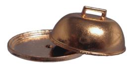 Platte schaal met deksel (koper)