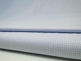Ruit stof 2 mm - Lichtblauw / Wit