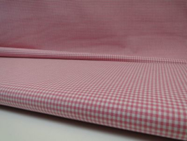 Ruit stof 2 mm -  Rose / Wit