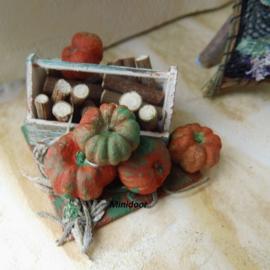 Bak met afvalhout en pompoenen (zelf maken)