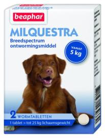 Beaphar Milquestra Hond Rund - Anti wormenmiddel - 2 tab 5 Tot 50 Kg