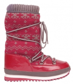 1161  Snowboot jogger boot jacquard - donkerrood  mt 28 t/m 35