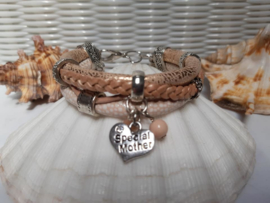 Leren armband rose goud met moederdagbedel 2