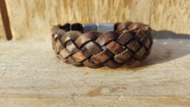 RAW stoere leren armband gevlochten bruin