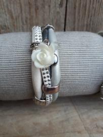 Armband leer wit zilver