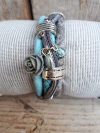 Armband leer lichtblauw antraciet