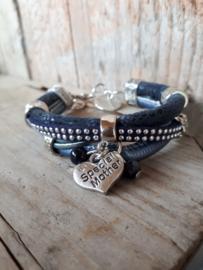Armband leer donkerblauw moederdag