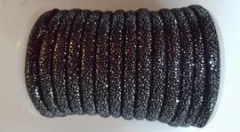 stitched leer 6,, zwart zilver glitter
