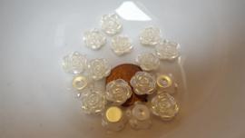 25 cabochonroosjes metallic wit
