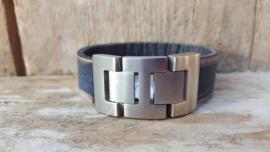 RAW stoere leren armband plat leer zwart met zandkleurige rand