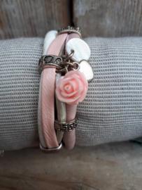 Armband leer roze