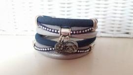 Armband leer dubbel donkerblauw grijs met bling bling