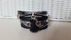 Armband leer dubbel zwart zilver met bling bling en kwastje