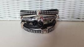 Armband leer dubbel zwart zilver met studs
