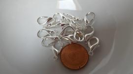 10 karabijnslotjes 18mm zilver