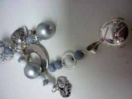 Zwangerschapsketting grijs/wit met bola