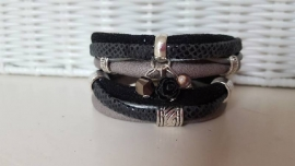Armband leer dubbel zwart taupe