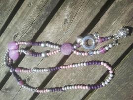 Zwangerschapsketting roze/paars/grijs met speciale bola