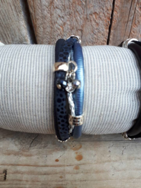 Armband leer donkerblauw