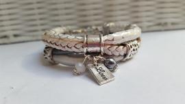 Armband leer wit - zilver gevlochten