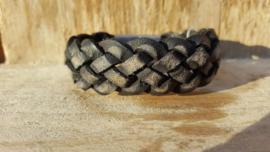 RAW stoere leren armband gevlochten antraciet / zwart
