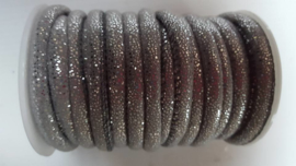 stitched leer 6mm grijs glitter